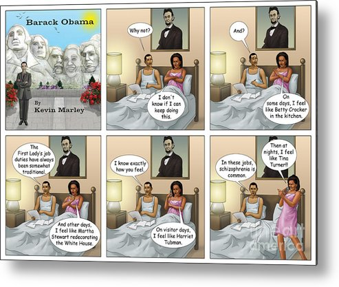 Barack Obama Metal Print featuring the digital art Michelle's Crisis by Kevin Marley