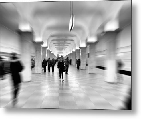 Adult Metal Print featuring the photograph Moscow Underground by Stelios Kleanthous