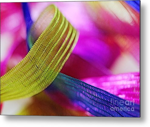 Green Metal Print featuring the photograph Party Ribbons by Judi Bagwell