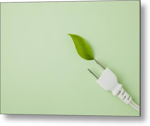 Horizontal Metal Print featuring the photograph Plug And Leaf by sozaijiten/Datacraft