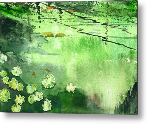 House Metal Print featuring the painting Reflections 1 by Anil Nene