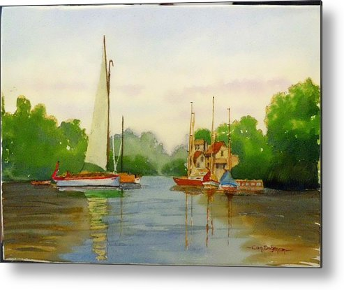 Sail Metal Print featuring the painting Sailing To The Harbour by Can Dogancan