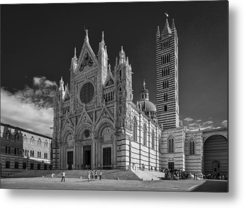 B & W Metal Print featuring the photograph Siena Duomo by Michael Avory