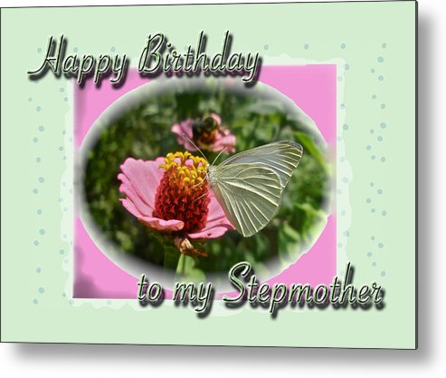 Birthday Metal Print featuring the photograph Stepmother Birthday Greeting Card - Butterfly On Flower by Mother Nature