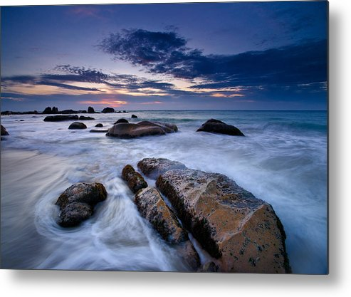 Horizontal Metal Print featuring the photograph Swirly Wave At Sunrise In Co Thach Beach by AndreLuu