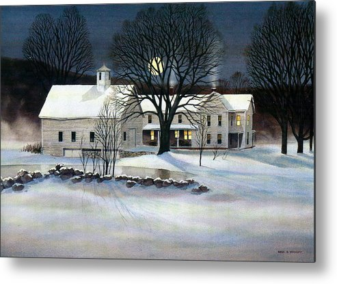 Winter Metal Print featuring the painting Winter Glow by Karol Wyckoff