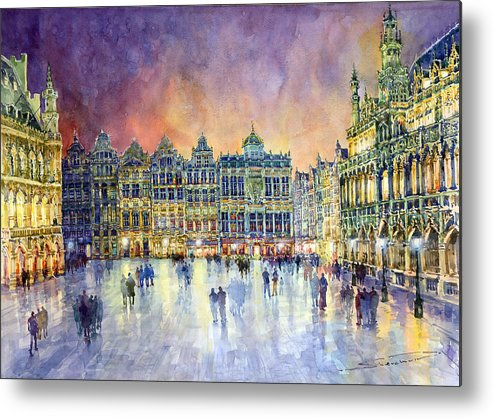 Watercolor Metal Print featuring the painting Belgium Brussel Grand Place Grote Markt by Yuriy Shevchuk