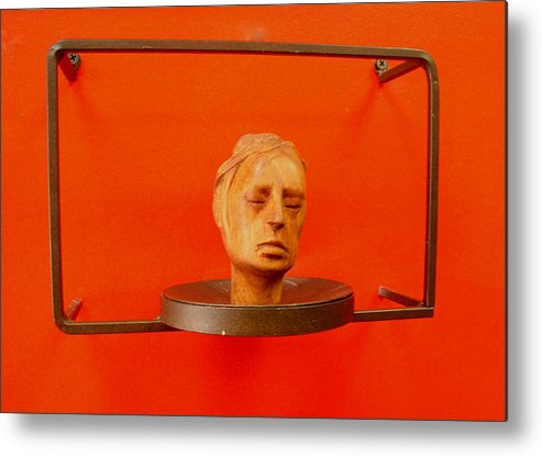 Face Metal Print featuring the sculpture Face by Victor Amor