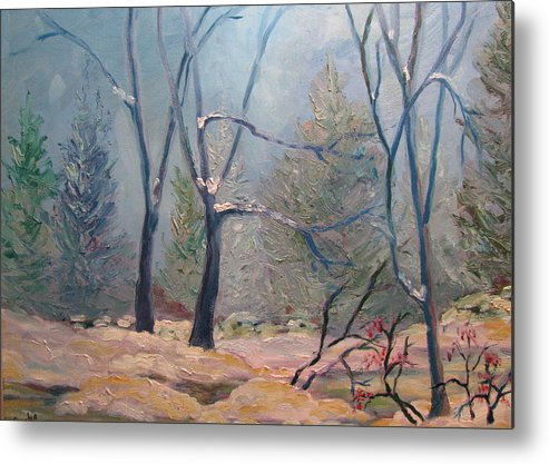 Forest Metal Print featuring the painting Forest At Twilight by Belinda Consten