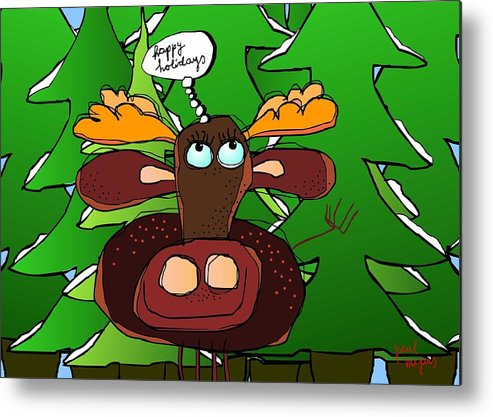 Holidays Metal Print featuring the digital art Happy Holidays by Paul Megens