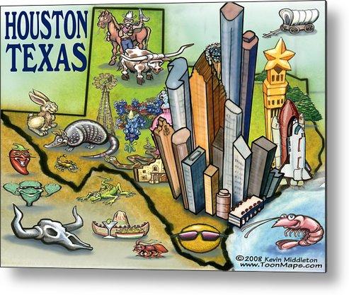 Houston Metal Print featuring the digital art Houston Texas Cartoon Map by Kevin Middleton