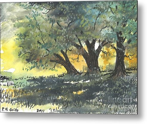 Trees Metal Print featuring the painting Old Oaks by Patrick Grills
