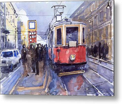 Cityscape Metal Print featuring the painting Prague Old Tram 03 by Yuriy Shevchuk