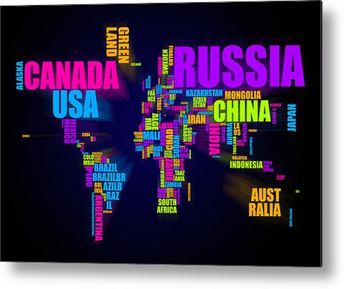 world map metal print featuring the digital art world map in words by michael tompsett