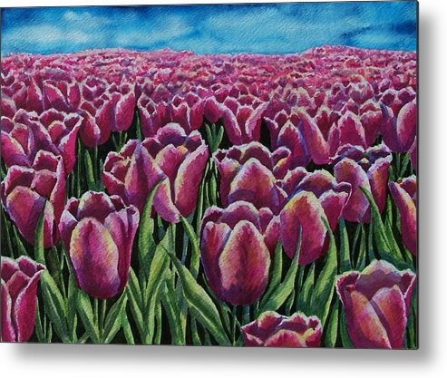 Tulips Metal Print featuring the painting 1000 Tulpis by Conni Reinecke