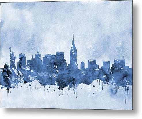 New York Metal Print featuring the digital art New York Skyline-blue by Erzebet S