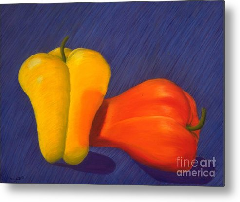 Vegetable Metal Print featuring the painting 2 Peppers by Mary Erbert