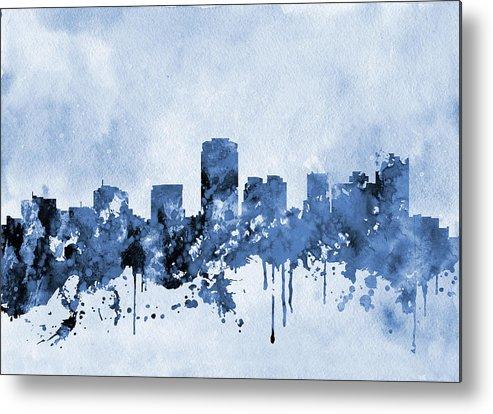 Phoenix Metal Print featuring the digital art Phoenix Skyline-blue by Erzebet S