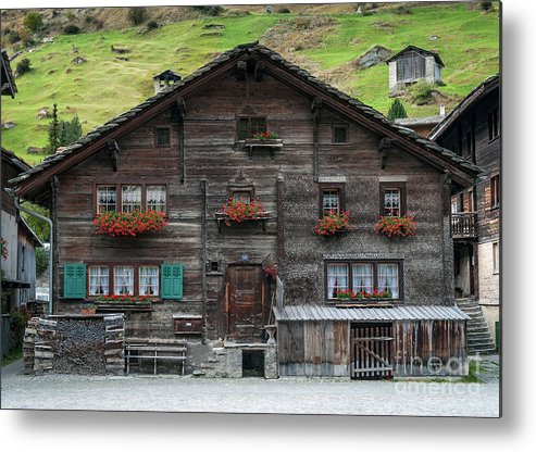 Alpine Metal Print featuring the photograph Traditional Swiss Alps Houses In Vals Village Alpine Switzerland by Jacek Malipan