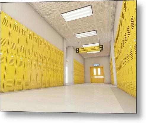 Locker Metal Print featuring the digital art Yellow School Lockers Light by Allan Swart