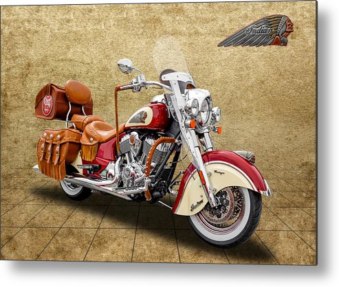 Frank J Benz Metal Print featuring the photograph 2015 Indian Chief Vintage Motorcycle - 1 by Frank J Benz