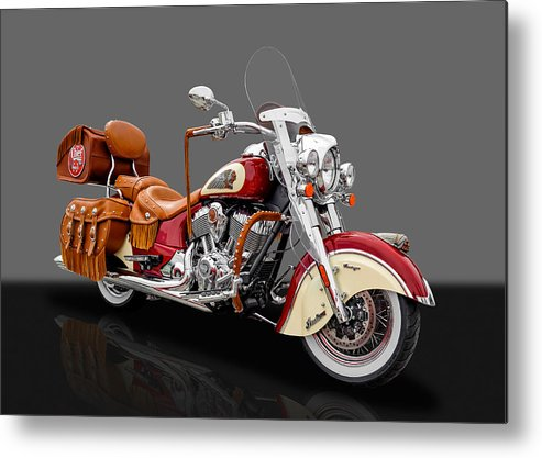 Frank J Benz Metal Print featuring the photograph 2015 Indian Chief Vintage Motorcycle - 3 by Frank J Benz