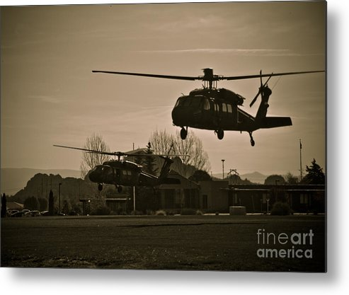 Us Army Metal Print featuring the photograph Us Army Blackhawks by Brenton Woodruff