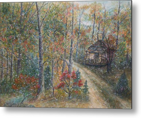 Country Road; Old House; Trees Metal Print featuring the painting A Bend In The Road by Ben Kiger
