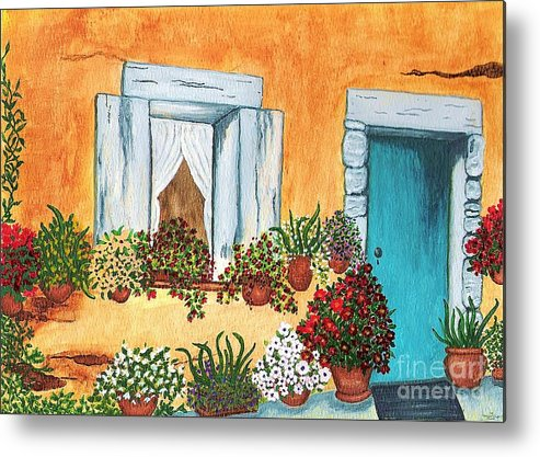 Watercolor Painting Metal Print featuring the painting A Cottage In The Village by Patricia Griffin Brett