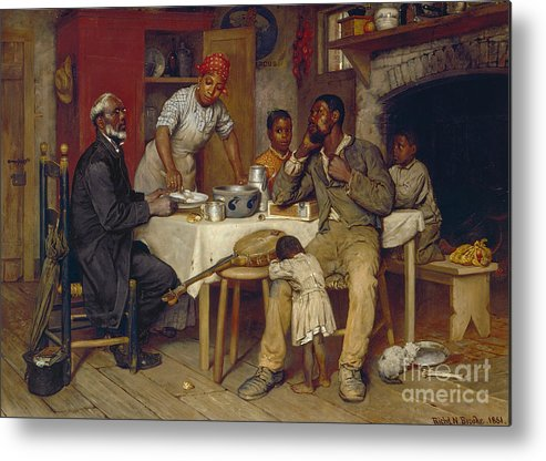 Domestic Metal Print featuring the painting A Pastoral Visit by Richard Norris Brooke