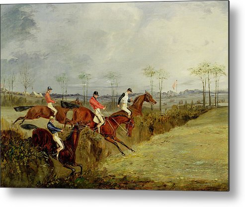 Steeplechase Metal Print featuring the painting A Steeplechase - Taking A Hedge And Ditch by Henry Thomas Alken