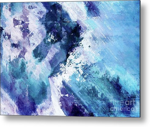 Blue Metal Print featuring the digital art Abstract Division - 72t02 by Variance Collections