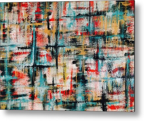 Teal Metal Print featuring the painting Abstract Teal Crosses by Laura Parker