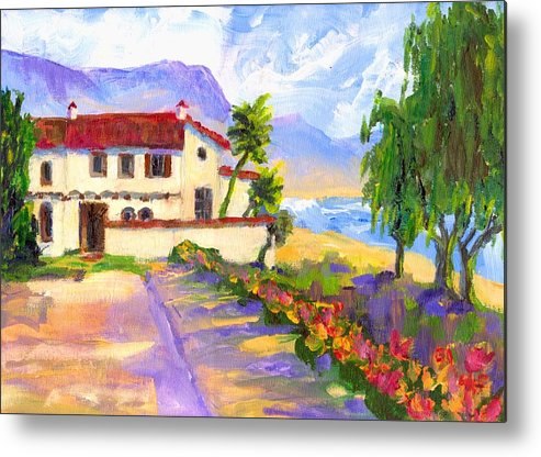 Spanish Metal Print featuring the painting Adamson Home Malibu by Randy Sprout