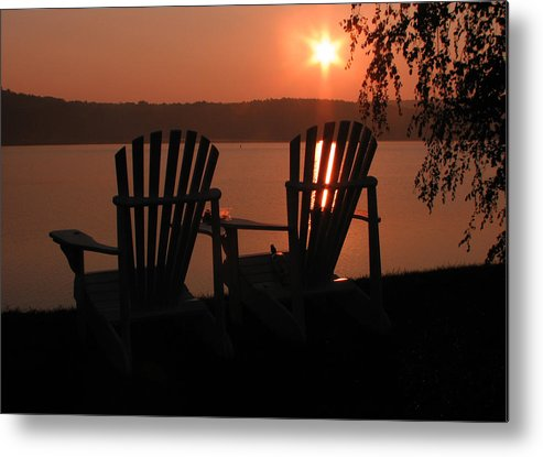 Lakes Region Photographs Metal Print featuring the photograph Adirondack Chairs-1 by Michael Mooney