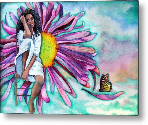 Woman/flower/surrealism Metal Print featuring the painting Alone by Gail Zavala