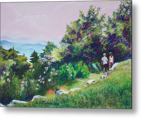 Mountains Metal Print featuring the painting Along The Mountain Path by Anne Rhodes