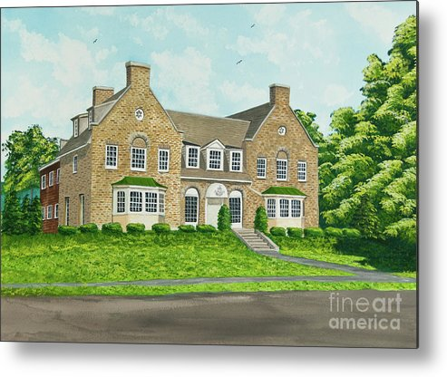 Colgate University Fraternity House Metal Print featuring the painting Alpha Tau Omega by Charlotte Blanchard