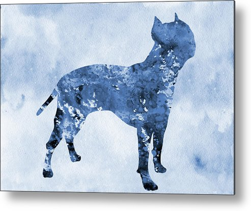 Amstaff Metal Print featuring the digital art Amstaff-blue by Erzebet S