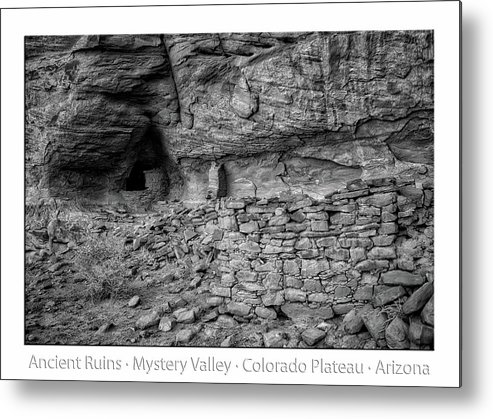 Mystery Valley Metal Print featuring the photograph Ancient Ruins Mystery Valley Colorado Plateau Arizona 02 Bw Text by Thomas Woolworth