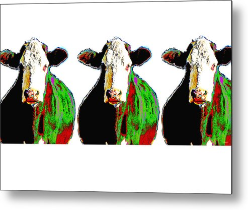 Cow Metal Print featuring the photograph Animals Cows Three Pop Art Cows Warhol Style by Ann Powell