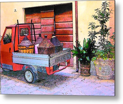 Ape Metal Print featuring the photograph Ape Truck In Tuscany by Jan Matson