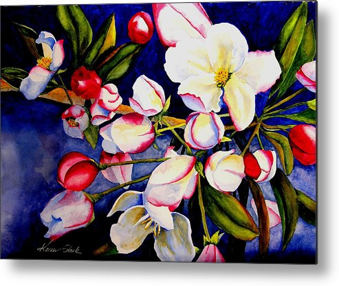 Apple Blossoms Metal Print featuring the painting Apple Blossom Time by Karen Stark