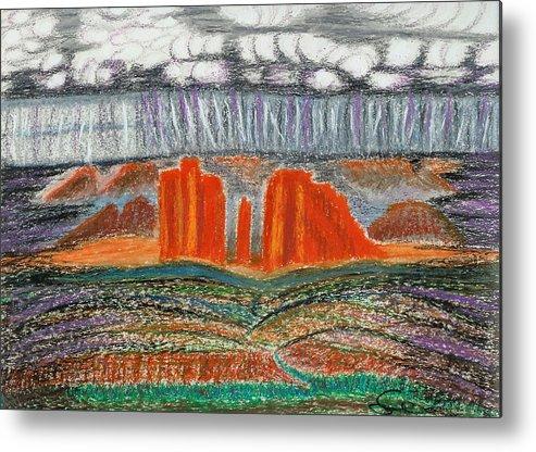 Red Rocks Metal Print featuring the drawing Arizona Rain by Ingrid Szabo