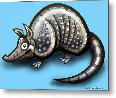 Armadillo Metal Print featuring the greeting card Armadillo by Kevin Middleton