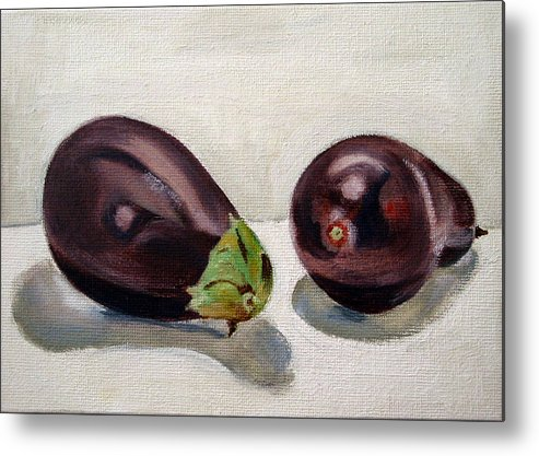Still-life Metal Print featuring the painting Aubergines by Sarah Lynch