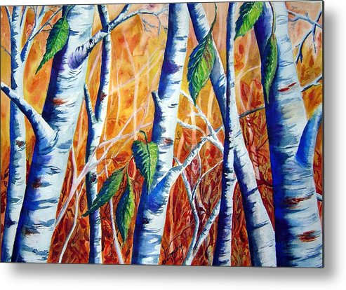 Autumn Birch Trees Metal Print featuring the painting Autumn Birch by Joanne Smoley