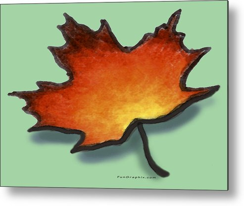 Leaf Metal Print featuring the greeting card Autumn Leaf by Kevin Middleton