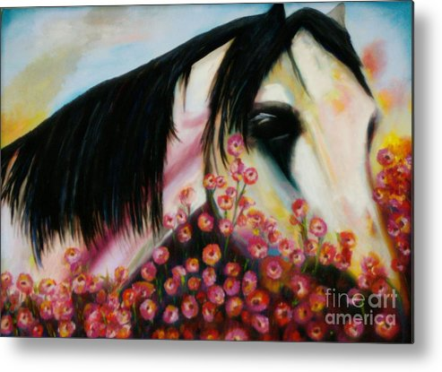 Horse Metal Print featuring the painting Avalon's Rose by Sidra Myers
