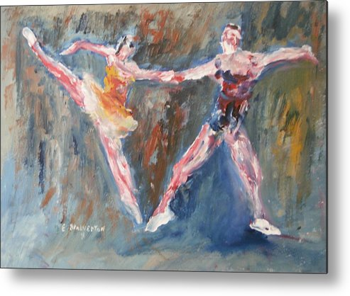 Portrait Impression Of Dancers Metal Print featuring the painting Ballet Dancers Heart by Edward Wolverton